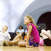 Kearah Williams, 7, looks on during a cosmic presentation in the University of Louisville's Rauch Planetarium's Owsley Brown II Portable Planetarium at the Griffin Recreation Center in New Albany on Friday afternoon. Staff photo by Christopher Fryer