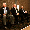 From left, Clarksville City Council President John Gilkey, Jeffersonville Mayor Mike Moore, and New Albany Mayor Jeff Gahan listen for the next topic of discussion from mediator Dale Gettelfinger in the Royal Ballroom at the Holiday Inn in Clarksville during the 2012 Annual Mayor's Luncheon on Wednesday afternoon. Staff photo by Christopher Fryer