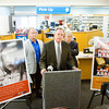 Indiana Retail Council President Grant Monahan, center, speaks to members of the media with Jeffersonville Mayor Mike Moore, left, and state Attorney General Greg Zoeller in the CVS along Spring Street in Jeffersonville at the launch of a statewide anti-meth campaign on Wednesday afternoon. Staff photo by Christopher Fryer