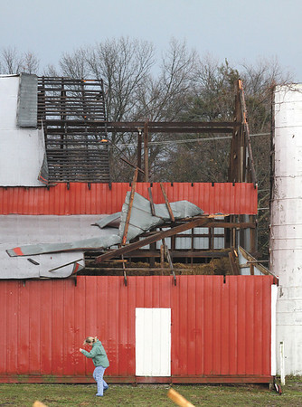 The roof of a barn on Armstrong Farm in Jeffersonville was partially torn off by a storm that moved through the region Tuesday morning.  Staff photo by C.E. Branham