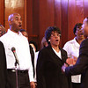Members of the First Trinity Missionary Baptist Church mass choir perform a Martin Luther King Jr. memorial service Monday. Staff photo by C.E. Branham