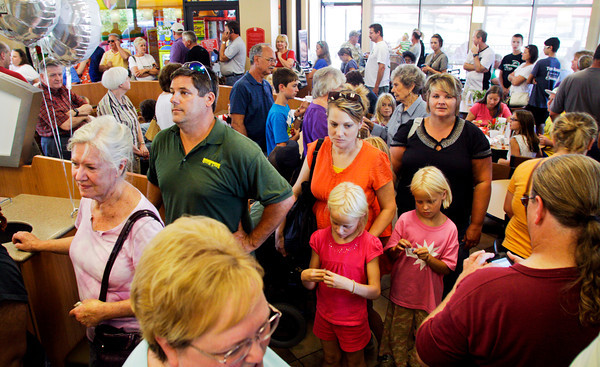"Customers wait to order at Chick-fil-A on State Street in New Albany during ""Chick-fil-A Appreciation Day"" on Wednesday afternoon. The nationwide event was organized by former Republican presidential candidate Mike Huckabee to support the company's president's recent comments about his support of traditional marriage. Staff photo by Christopher Fryer"