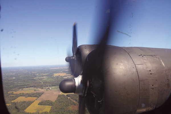 View of B-17 engines from the engineer seat. Staff photo by C.E. Branham