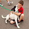 Zach Fleming, 7, New Albany, plays with Tugger, an adoptable pointer mix puppy with the New Albany Floyd County Animal Control and Shelter, during the ninth annual Purina Rally to Rescue in downtown New Albany on Saturday morning. Staff photo by Christopher Fryer