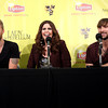 Lady Antebellum members Charles Kelley, left, Hillary Scott and Dave Haywood talk to the media before playing a prom and Rebuilding Henryville benefit concert Wednesday night at the KFC YUM! Center. Staff photo by C.E. Branham
