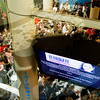 A monitor hangs above the audience as they listen to speakers during a press conference to kick off the Partnership to Eliminate Child Abuse awareness campaign in the lobby of Kosair Children's Hospital in Louisville on Wednesday morning. Staff photo by Christopher Fryer