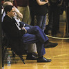 Indiana coach Tom Crean takes in the Charlestown and Corydon Central game wednesday night at the 3A Salem sectional.  Staff photo by C.E. Branham