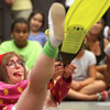 An actress portraying children's book character Junie B. Jones played show and tell as the Junie B. Jones Stupid Smelly Bus Tour stopped by the Jeffersonville Township Public Library on Monday afternoon. Staff photo by C.E. Branham