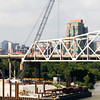 Construction crews work on the new interstate 65 bridge foundation work on the banks of the Ohio river in Louisville on Thursday morning. Staff photo by Christopher Fryer