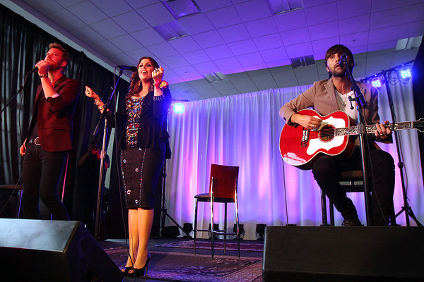 Lady Antebellum performing for Henryville High School students Wednesday at the KFC YUM! Staff photo by C.E. Branham