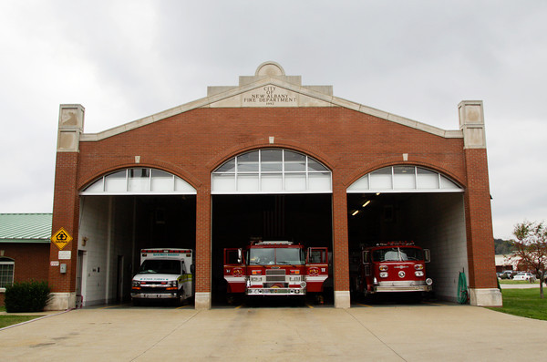 New Albany Fire Department Station No. 4 sits on its location at 2207 Green Valley Road on Tuesday afternoon in New Albany. The station is involved in a proposed business deal where a developer would purchase the property and the station would move to the former Camille Wright Pool property off of Daisy Lane. Staff photo by Christopher Fryer