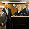 New Albany Police Chief Sherri Knight, center right, discusses information about the closure of the investigation into the deaths of Jaime Clutter, 35, and her two children, Brandon, 10, and Katelyn, six months, during a press conference at the City-County Building in New Albany on Friday morning. Clutter and her two children were found dead in a creek at New Albany's Binford Park on March 13. Staff photo by Christopher Fryer