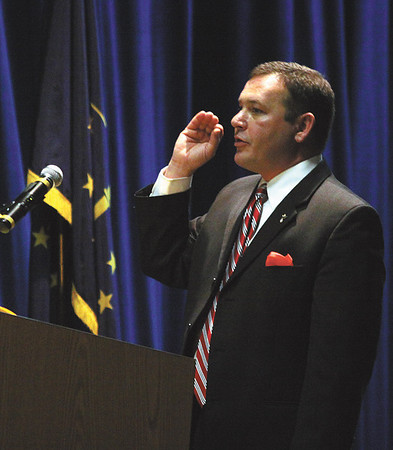 Attorney Bart Betteau, representing appellant Jack Messer, delivered his argument and answered questions from the Indiana Court of Appeals Wednesday morning at Silver Creek High School.  Staff photo by <br /> C.E. Branham