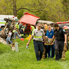Emergency officials move the driver of a dump truck to be life-flighted to University of Louisville Hospital following his extrication from wreckage after the truck overturned at the intersection of Greenville Borden and Martinsburg Knob roads just after 2 p.m. on Thursday in Borden. Staff photo by Christopher Fryer