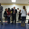 James Sexton, principal at Jeffesonville High School, leads a group of French students touring the school on Wednesday. The students visited Washington DC before coming to Louisville, then the high school. They'll stay with families in Louisville for a few days. Staff photo by Jerod Clapp