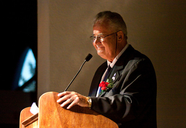 "Honoree Richard ""Dick"" Jones speaks during the annual Bales' Humanitarian Gala at Kye's in Jeffersonville on Thursday evening. Charles ""Chuck"" Ledbetter Sr. was also recognized as a humanitarian honoree at the Clark County American Red Cross fundraiser. Staff photo by Christopher Fryer"