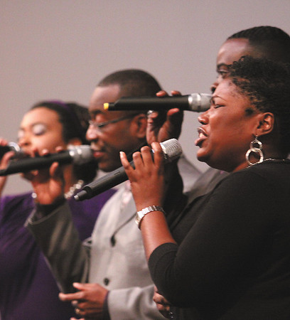 Makayla Wise and acapella group Made New performed at the Martin Luther King Jr. Day memorial service in Jeffersonville.  Staff photo by C.E. Branham