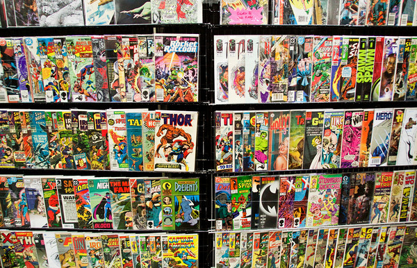 Comic books sit on display in the booth of StarBase 1552 Comics, based in Mt. Pleasant, Tenn., during the FandomFest Comic and Toy Expo in downtown Louisville on Saturday afternoon. Staff photo by Christopher Fryer
