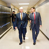 Prosser Career Education Center Director Alan Taylor, right, talks with Gov. Mike Pence as they tour the school's facilities on Friday afternoon in New Albany. Staff photo by Christopher Fryer