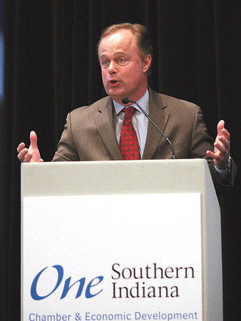 Gerry Dick of Inside INdiana Business delivered the keynote presentation Friday afternoon at the One Southern Indiana annual meeting in New Albany.  Staff photo by C.E. Branham
