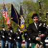 "Pipe sergeant John Scott, of Louisville, plays ""Minstrel Boy"" while leading out the color guard in front of Post No. 45 in Sellersburg during the annual Indiana State Police Sellersburg District memorial service for the 46 personnel members that have died while serving Indiana since 1933. Staff photo by Christopher Fryer"