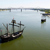 Replicas of the Christopher Columbus ships, the Niña, right, and the Pinta, are sailed up the Ohio River to dock in downtown Louisville on Tuesday. Every three years the ships are sailed from the Gulf of Mexico, up the East Coast, over to the Great Lakes, and through various waterways and rivers to eventually go up the Ohio River and end the journey in Pittsburgh. They are docked at various ports along the way for educational tours and will be open next to Joe's Crab Shack, 131 West River Rd., through September 4. Staff photo by Christopher Fryer