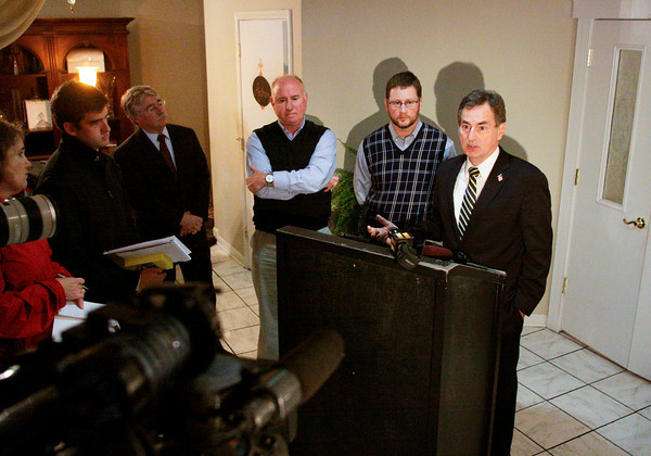 Republican Indiana U.S. Senate candidate Richard Mourdock, far right, speaks to members of the media during a press conference following a roundtable discussion with doctors and Indiana Attorney General Greg Zoeller about health care issues in the lobby of the Grand in downtown New Albany on Friday afternoon. Staff photo by Christopher Fryer