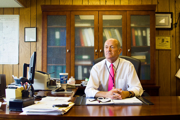 West Clark Schools Superintendent Monty Schneider is interviewed in his office in Sellersburg on Wednesday afternoon. Staff photo by Christopher Fryer