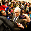 Indiana Governor Mike Pence fields questions from reporters before a commemoration of the Henryville tornado recovery in Henryville Junior/Senior High School's gymnasium on Saturday. Pence said the heroism of first responders and community members was recognized across the state and nationwide. Staff photo by Jerod Clapp