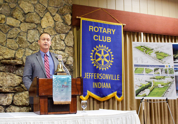 Jeffersonville Mayor Mike Moore delivers his annual State of the City Address to the Jeffersonville Rotary Club during their weekly luncheon at the Holiday Inn Lakeview in Clarksville on Tuesday morning. Staff photo by Christopher Fryer