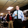 Democratic gubernatorial candidate John Gregg speaks in the Hitching Post Tavern during a stop on his statewide bus tour in downtown New Albany on Friday morning. Friday was the seventh day of his eight day bus tour through 72 Indiana cities that ends today in Indianapolis. Staff photo by Christopher Fryer