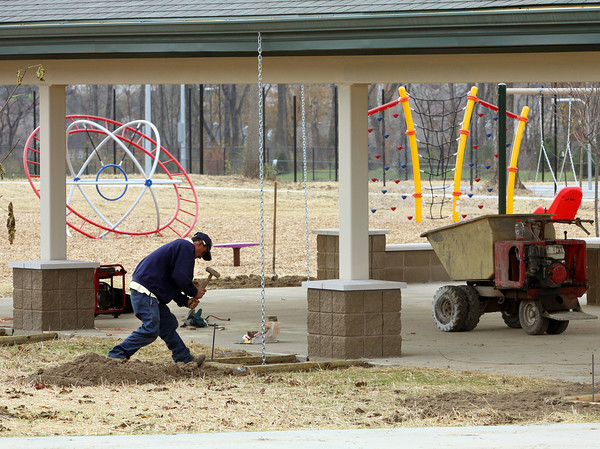 Shelter houses are built and playground equipment installed at Vissing Park in Jeffersonville. Staff photo by C.E. Branham