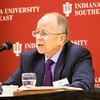Retired Indiana University economics professor Willard Witte speaks as part of a panel discussing current economic facts and subjects affecting Southern Indiana and Louisville during an economic outlook breakfast in the Hoosier Room at IU Southeast on Friday morning. Staff photo by Christopher Fryer