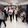 Students make their way through the halls after first period during the first day of classes at Providence Junior-Senior High School on Wednesday morning in Clarksville. Staff photo by Christopher Fryer