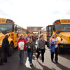 Henryville Elementary School students make their way to their buses at the end of the day on Feb. 19. A year after their school was decimated by a tornado, the community in the schools has more or less recovered, but also served as a source of hope for the rest of the town. Staff photo by Jerod Clapp