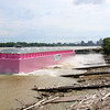 A pink barge belonging to Ceres Barge Line, named Big Hope 1, wqas launched by Jeffboat on Thursday afternoon. Ceres Barge Line put the pink barge in service to raise breast cancer awareness. Staff photo by C.E. Branham