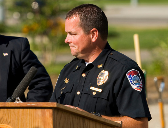 Jeffersonville Police Chief Chris Grimm speaks during the groundbreaking ceremony for the new Jeffersonville Police Station Headquarters along East 10th Street in Jeffersonville on Monday morning. Staff photo by Christopher Fryer