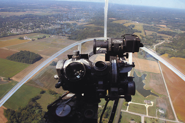 "View of southern Indiana from the bombadier seat of a B-17 bomber. The WWII era plane, used in the movie ""Memphis Belle,"" will be at the Clark County Airport Saturday and Sunday for flights and tours. Staff photo by C.E. Branham"