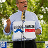 Democratic Indiana gubernatorial candidate John Gregg speaks to supporters underneath the Riverfront Amphitheater during a stop in New Albany on Wednesday afternoon. Staff photo by Christopher Fryer