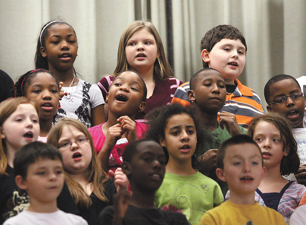 Spring Hill Elementary school third, fourth and fifth-graders performed a program in honor of Black History Month Tuesday afternoon at the Jeffersonville school.  Staff photo by C.E. Branham
