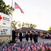 Members of the Jeffersonville High School Air Force ROTC perform the flag folding ceremony during the Sept. 11 Memorial Service at the Clark County Red Cross in Jeffersonville on Tuesday night. Staff photo by Christopher Fryer