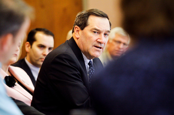 Indiana Sen. Joe Donnelly, D-Ind., speaks with local business owners and government and education officials during a round table discussion on job creation at One Southern Indiana on Wednesday afternoon in New Albany. Staff photo by Christopher Fryer