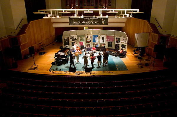 A jazz combo practices in an auditorium at the University of Louisville School of Music during Jamey Aebersold's Summer Jazz Workshop earlier this month. Staff photo by Christopher Fryer