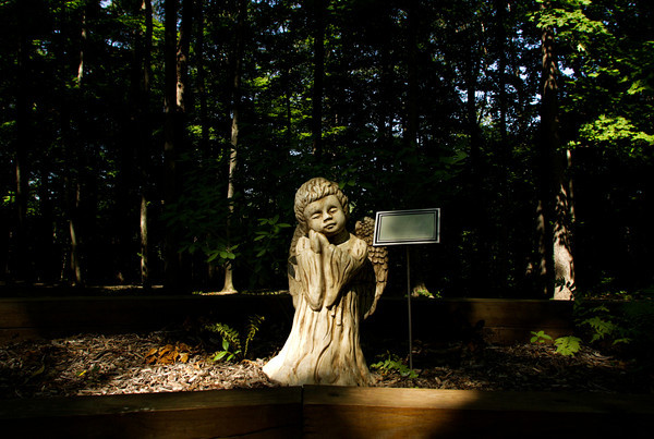 A memorial sits in a flower bed in the Camp Riley Memory Garden at Indiana University's Bradford Woods near Martinsville on Tuesday morning. Staff photo by Christopher Fryer