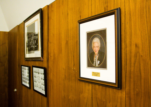 A portrait of Margaret Read hangs in Circuit Courtroom No. 1 following a ceremony in honor of her years of service in the Clark County justice system and community in Circuit Courtroom No. 1 at the Clark County Government Building in Jeffersonville on Thursday morning. Read worked as a court reporter in the original Circuit Court from 1953 to 1974 and continued to serve the justice system after that through her private deposition service. Staff photo by Christopher Fryer