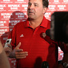 Indiana University football coach Kevin Wilson speaking at the IU Tailgate Tour Wednesday evening at Huber Winery. Staff photo by C.E. Branham