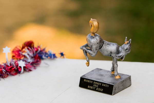 A trophy for the worst rider sits on the awards table during the Donkey Races at the Floyd County 4-H Fair in New Albany on Wednesday evening. Staff photo by Christopher Fryer