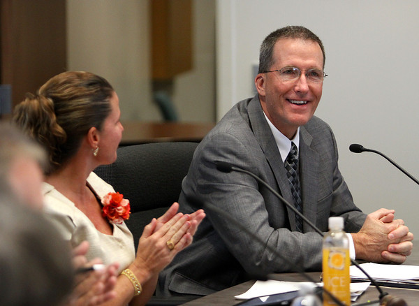 Dr. Andrew Melin, the finalist for the position of superintendent for Greater Clark County Schools, was introduced at a public forum Thursday evening. Staff photo by C.E. Branham