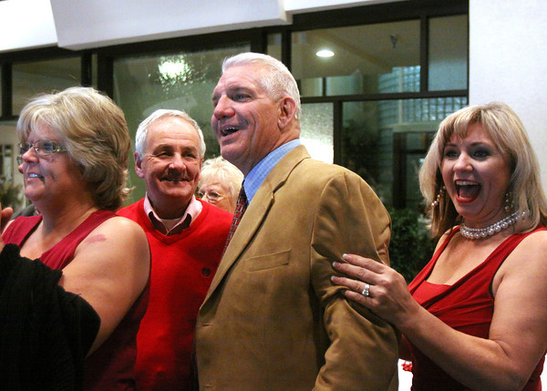 Republicans Jack Coffman and Rick Stephenson, pictured with his wife Tanya Stephenson, unseated incumbent Democrats Les Young and Ed Meyer in the Clark County Commissioners race. Staff photo by C.E. Branham