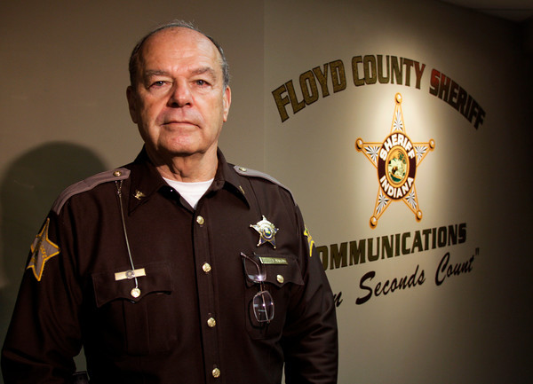 Floyd County Council president Ted Heavrin stands in the communications office of the Floyd County police department, where he serves as police chief, on Friday morning in New Albany. Heavrin will be leaving his council seat on Dec. 31 after four terms. Staff photo by Christopher Fryer